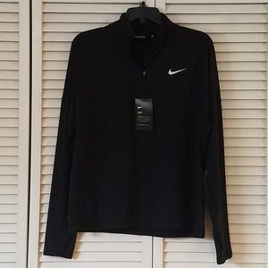 NWT NIKE DRI-FIT 1/4 ZIP TOP/SHIRT/PULL OVER BLACK